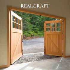 Real Carriage Door Company is now RealCraft™. As the leading barn door manufacturer of sliding door hardware, interior barn doors, and Real Carriage Doors. Here you will find that craftsmanship, excellence, and innovation are of the utmost importance. We embrace the art of working with raw materials and the creative diligence to turn it into something extraordinary. Barn Door Garage, Sliding Garage Doors, Carriage House Garage Doors, Custom Garage Doors, Wooden Garage Doors, Carriage Doors, Custom Garages, Sliding Door Hardware, House Doors