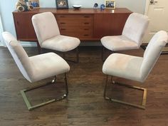 Mid Century Milo Baughman For Thayer Coggin 4 Dining Chairs