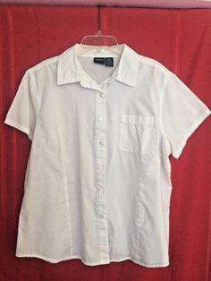 Basic Editions White Shirt XL Cotton Blend Short Sleeves Collar Button Front 1 F #BasicEditions #ButtonDownShirt #Career