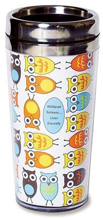 """WHOever Believes Inspirational Travel Coffee Tumbler - Insulated travel coffee tumbler features press on lid with slide lock. Dishwasher Safe. Text : """"WHOever Believes. . . Lives Eternally"""". 6 3/4"""" H, 14 oz."""