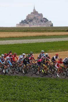 Le Tour de France 2016 Stage 1 The peloton heads out past Mont-Saint-Michel