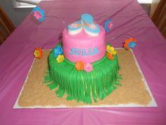 Luau birthday cake. Grass fondant skirt and chocolate flip flops.