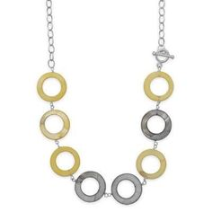 "25"" Yellow and Grey Shell Toggle Necklace"