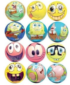 Amazon.com: Spongebob Squarepants Party Favors - Soft FoamGraphic balls Lot of 20: Toys & Games