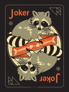 Pocono Modern Raccoon Joker silk screen poster