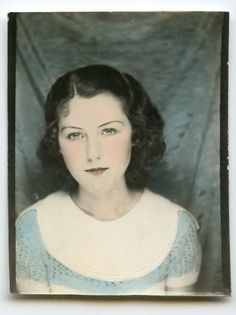 ** Vintage Photo Booth Picture ** Young woman ~ hand tinted in blue. 1934