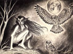 A strzyga is a demon a bit similar to vampire in Slavic (and especially Polish) folklore. People who were born with two hearts and two souls and two sets of teeth (the second one barely visible) were believed to be strzygas.. These undead strzyga were believed to fly at night in a form of an owl and attack night-time travelers and people who had wandered off into the woods at night, sucking out their blood and eating their insides. .