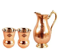 Outside Steel Inside Copper Water Pitcher Jug Set 2 Water Glasses Cup Tumbler Jug Capacity 54 Ounce Glass Capacity 10 Ounce Steel Copper Embossed