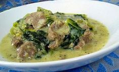 Arni Frikase or lamb fricassee is a very traditional Greek dish of stewed lamb with greens in egg lemon (avgolemono) sauce. Cookbook Recipes, Lunch Recipes, Meat Recipes, Baby Food Recipes, Food Network Recipes, Cooking Recipes, The Kitchen Food Network, Dairy Free Diet, Greek Cooking