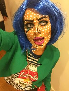 Halloween look, pop art , comic make up horror scary creative