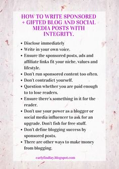How to write sponsored   gifted blog and social media posts with integrity. #blog #blogging #socialmedia #blogtips #blogtools #printable