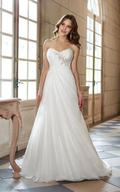White/Ivory Beading A-Line Bridal Gown Wedding dress Size 6 8 10 12 14 16 18