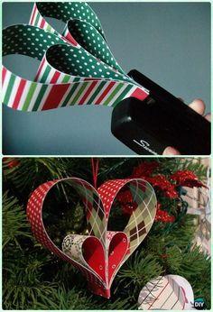 DIY Paper Heart Ornament Instruction- DIY Paper Christmas Tree Ornament Craft Ideas #christmastreeornaments