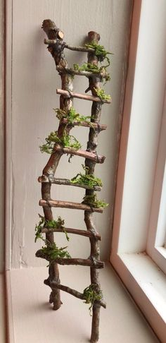 Rickety Ladder Fairy Ladder Handcrafted by Olive Fairy Accessories Fairy House Fairy Door Fairy Window Miniatures Garten Fairy Garden Furniture, Fairy Garden Houses, Twig Furniture, Fairy Gardening, Gardening Tips, Diy Fairy House, Cheap Furniture, Container Gardening, Garden Crafts