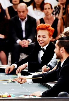 orange hair x black tuxedo :: G-Dragon of #BigBang at Chanel Fall 2015 Haute Couture show