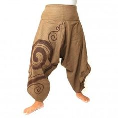 3/5 harempants pants with spiral pattern cotton brown