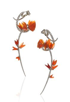 """2015 AGTA Spectrum Awards Editors' Choice Evening Wear Gregore Morin Gregore Joailliers Santa Barbara, CA  18K white gold """"Sometime This Spring"""" earrings featuring Mexican fire Opals (68.88 ctw.) accented with round Diamonds (2.19 ctw.)."""