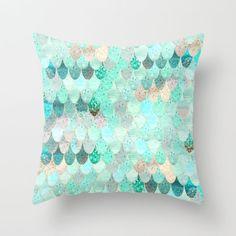 SUMMER MERMAID Throw Pillow by Monika Strigel