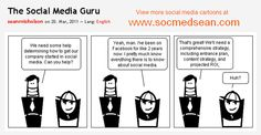 """The Social Media Guru Cartoon Comic """"This is Hilarious and so True! Social Media Humor, Social Media Trends, Social Media Marketing, Business Launch, Home Based Business, Inbound Marketing, Online Marketing, Media Lies, Best Business Ideas"""