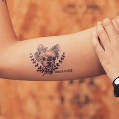 """250 Likes, 12 Comments - Tattooist Grain (@tattoo_grain) on Instagram: """"#puppy#puppyDesign#puppyTattoo#강아지Tattoo#dog#dogTattoo#dogDesign#flower#flowerTattoo#yorkshireTerrier#반려견#반려견타투#꽃타투#요크셔테리어#tattoo#tattoo_grain"""""""