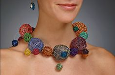Necklace | Joan Dulla.  Knitted colour wire / gold filled