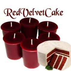 6 Red Velvet Cake Votive Candles Bakery by WoodcraftsandCandles (Home & Living, Home Décor, Candles & Holders, Candles, Votive Candles, red velvet candles, red velvet cake, cake candles, chocolate candles, strawberry candles, bakery candles, dessert candles, red candles, brown candles, buttermilk candles, vanilla candles, red currants, handmade)