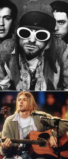 NIRVANA KURT COBAIN STYLE FASHION INSPIRATION FUZZY CARDIGAN PRINT BUTTON UP SHIRT BAND TSHIRT TEE EAR FLAP HAT ROUND WHITE SUNGLASSES MENS STYLE FASHION BLOG MTV UNPLUGGED