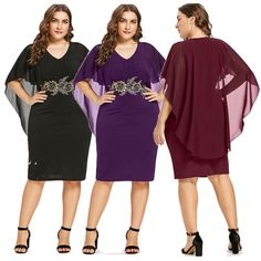 8b75c856eb5 Plus Size Womens Embroidery Capelet Sheath Casual Cocktail Evening Party  Dress  Unbranded  Cocktail Capelet