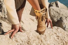 Way Frange - beige Leather boots with studs and fringes, in beige color, 100% Made in Italy entirely hand-stitched, characterized by a unique decorated metal plate, placed on a leather base bearing the inscription Karma of Charme, which verifies the originality