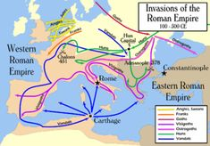 Map showing the migrations of the Vandals from Germany through Dacia, Gaul, Iberia, and into North Africa, and their raids throughout the Mediterranean.