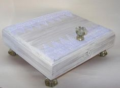 Cigar box  whitewash shabby chic with lace by TrailsEndCollection, $30.00