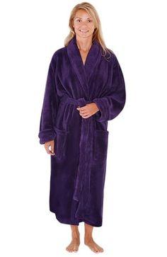 64d5e7f256 Del Rossa Women s Classic Fleece Shawl Collar Bathrobe Robe Corset