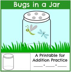 Free printable math mat and worksheet for bugs in a jar