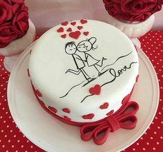 Simple Anniversary Cakes, Anniversary Cake Designs, Wedding Anniversary Cakes, Anniversary Cupcakes, Heart Birthday Cake, Cute Birthday Cakes, Beautiful Birthday Cakes, Frozen Birthday, Aniversary Cakes
