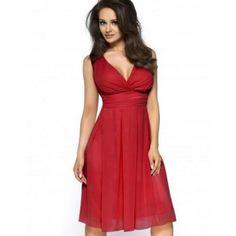 Sukienka z szyfonu kopertowy dekolt KM117-3 Czerwona na wesele kartes-moda-m-6.html