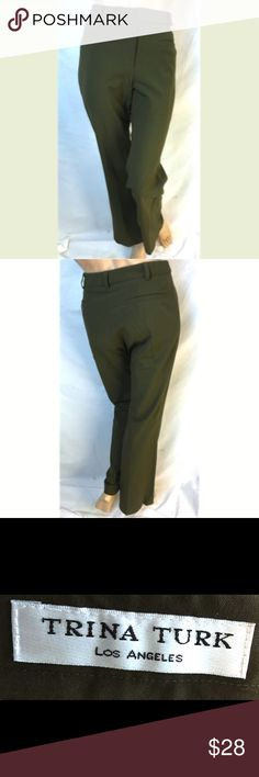 Trina Turk Olive Wide Trouser Pants Size 30 Trina Turk Olive Wool Stretch Wide Trouser Pants Size 30 Trina Turk Pants Boot Cut & Flare