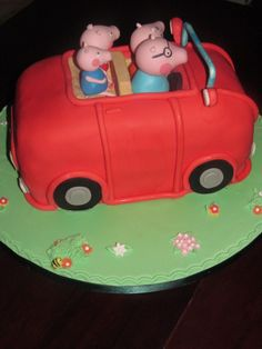 Peppa Pig red car cake Novelty Cakes, Peppa Pig, Car, Desserts, Food, Parties, Automobile, Deserts, Vehicles