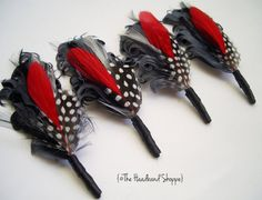 Feather Boutonniere or Lapel Pin in Grey Red by TheHeadbandShoppe, $15.00