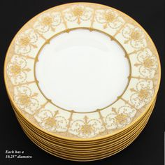 "Vintage 1922 MINTON 12pc 10.25"" Dinner Plate Set, Gorgeous Raised from antiques-uncommon-treasure on Ruby Lane"