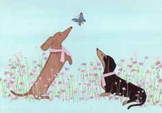 Dachshunds (doxies) in pink ribbons befriend butterfly / Lynch signed folk art. $12.99, via Etsy.