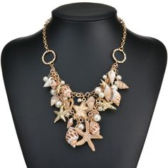 Seashell Starfish Simulated Pearl Necklace