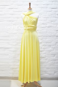 Bridesmaid Dress Infinity Dress Sunshine Yellow Floor Length Wrap Convertible Dress Wedding Dress