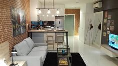 Source: amorphous design this design for summer suites residences, mercu summer suites proves that small apartment interior designs Modern Small Apartment Design, Condo Interior Design, Townhouse Interior, Condo Design, Studio Interior, House Design, Design Loft, Small Condo, Kitchen Room Design