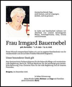 Todesanzeige für Irmgard Bauernebel vom 17.12.2016 - VN Todesanzeigen