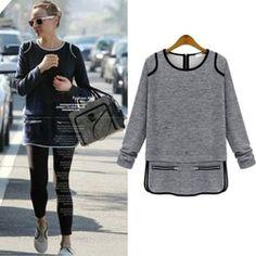 Online Shop moletons feminino 2015 Cotton Hoodies Women blusas femininas Long Sleeve O-Neck Pullovers Zippers Split Plus Size Women's Tops|Aliexpress Mobile