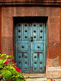 Blue Door With Bougainvilleas (By Olden Mexico)