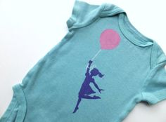 Up Up and Away - Girl and Balloon (Powder Pink and Purple on Teal Onesie) -- 0-3M Baby Bodysuit - Take Flight