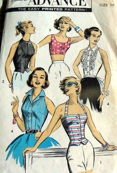 Lovely Vtg 1950s Halter Tops Advance Sewing Pattern 14 34 | eBay