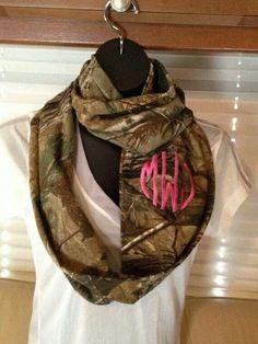 Camo infinity scarf with monogram embroidery @Brittney Cornelius.