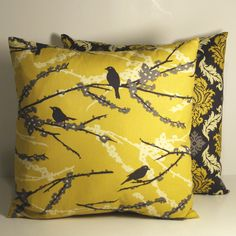 Aviary 2- Sparrows Vintage Yellow Granite JD41- 1/2 yard - Joel Dewberry for Free Spirit bty. $4.75, via Etsy.